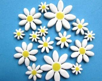 15 ceramic white daisy mosaic tiles, mosaic supplies, mosaic pieces, mosaic making