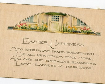 Easter happiness Postcard-  Pretty House. flowers vintage Easter postcard, art nouveau