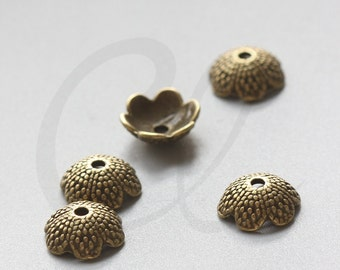 20pcs Antique Brass Tone Base Metal Caps-Flower 13x5mm (1283Y-K-98B)