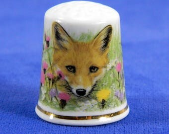 Porcelain Thimble Fox and Wildflowers by Avonvale United Kingdom England 18300