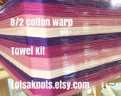 Striped Weaving Kit-Handmade-Handwoven-Weaving-Weaving loom kit-Craft Supplies-Cotton-4 towels-Yellow, green, orange stripes