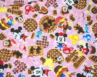 Disney licensed fabric Disney Cartoon  Minnie Mouse Minnie Couture and  sweets Print Japanese fabric nc25