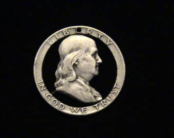 United States - cut coin pendant - Benjamin Franklin - SILVER - 1953
