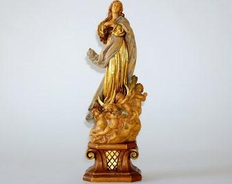 Vintage Anri Italy Carved Wood Madonna & Cherubs Assumption Statue, circa 1960