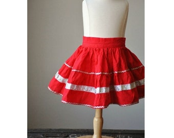 ON SALE ON Sale~1950s Full Circle Skirt in Fire Red~Size 6 Months