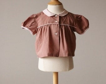 ON SALE 1940s Toffee Swing Blouse~Size 3 Months