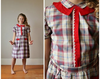 NOS, 1950s Dot & Dash Dress >>> Size 10/12