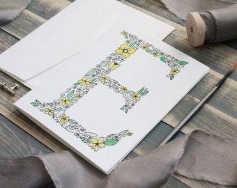 Yellow Daisy Painted Monogram Stationery Set   Stationery Gift Set   Monogram Gift   Gifts for Her   Watercolor Stationery - Set of 10