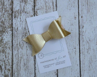 Gold Faux Leather Hair Bow - metallic gold hairbow clippie - everyday or holiday hair clip - perfect for photos - hair bow with no slip grip
