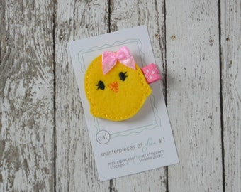 Yellow and Pink Chick Felt Hair Clip - Super cute Easter felt clippie - Holiday hair bow - Spring felt hair bow - no slip grip clippie