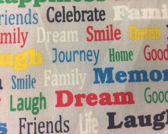 Happy Words Valance Topper Window Curtain Treatment Cotton Fabric