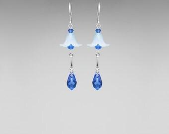 Blue Swarovski Crystal Earrings, Flower Earrings, Sapphire Swarovski Crystals, Swarovski Earrings, Spring Earrings, Dangle, Drop Earrings