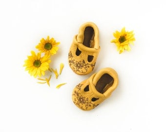 Elk Floral Stamp T-STRAPS  Soft Soled Leather Shoes Baby and Toddler Free Shipping in US