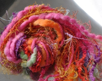 Destash Yarn - Scrap Bundle For Craft Projects - Bright Colors - Orange - Pink - Multi - Fringe - Fiber Art Supplies - Textile Craft Yarns
