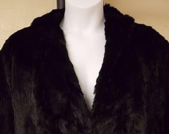 Super soft vintage cape, black rabbit fur, long arm slits faux sleeve w/cuffs, front close