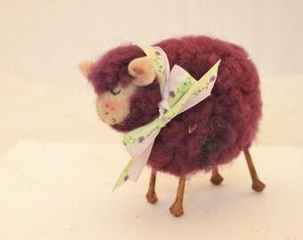 Sheep, Little Purple Sheep Prim Needle Felted Sheep, Easter Egg Sheep # 2387