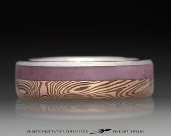 Mokumé Gane 14K Yellow Gold, 14K Rose Gold, and Shakudo Ring with Lavender Jade