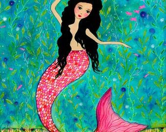 Dancing Mermaid Art Block Painting, Mermaid Gift