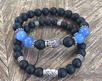 Blue Tiger Eye Mens Bracelet
