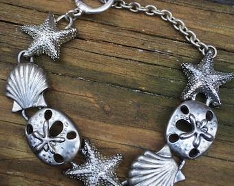 Starfish and Shell Silvertone Link  Bracelet