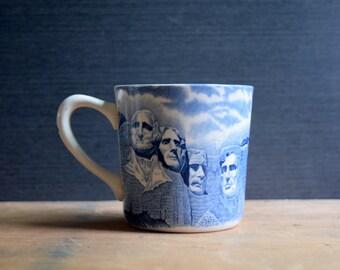 Mt Rushmore Transferware Coffee Mug or Cup, Blue and White, Johnson Bros England, Black Hills SD Souvenir Mug