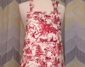 Christmas Toile Red Kitchen Apron - Priority OR Free Shipping