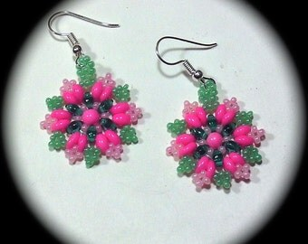 Pretty Pinks and Green Native American Style Handwoven Seed Bead Earrings Medallion Style native boho southwestern ethnic tribal