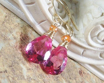 Pink Quartz Carnelian Gold Filled Drop Earrings