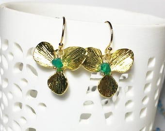 Green Onyx Earrings, Gold Orchid Leaf, Onyx Drop Earrings, Boho Earrings, Gifts for Her, Gold Earrings, Gold Fill