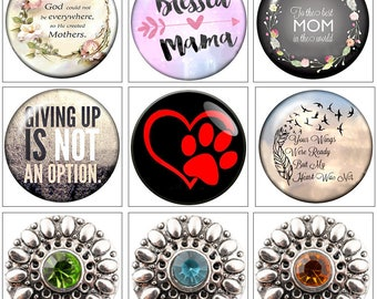 MERZIEs 18m Snap U PIC Mothers Mama, Mom Paws, Wings were Ready, Giving Up Not Option, Button - SHIPs from US - Combined Shipping