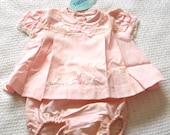 1950s Baby Girl Pink 2pc Dress & Romper pants, Nannette newborn, embroidery, lace trim, never used
