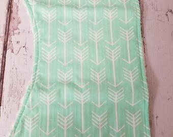 Mint arrow and chenille  burp cloth