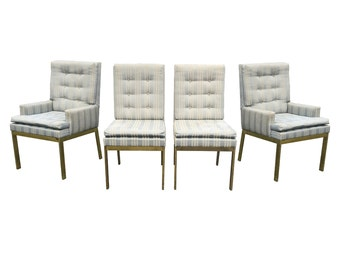Mid Century Modern Brass Dining Chairs set by DIA Milo Baughman
