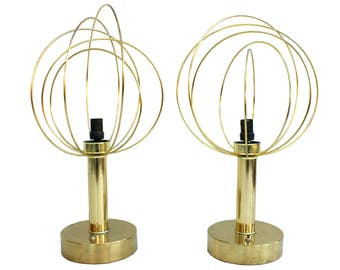 Pair of Atomic Mod Brass Table Lamps Mid Century Spaceage