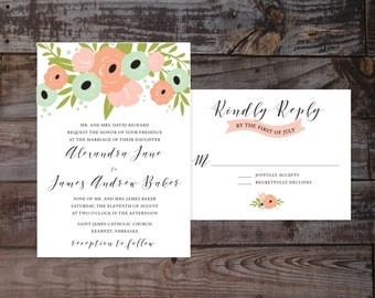 Watercolor wedding invitations, printed wedding invitations, vintage wedding invites, formal wedding invites, elegant wedding invitations