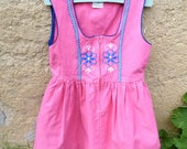 Reserverd to Erin Vintage 1970/70s Authentic Girl Dirndl Tyrol Austria German embroidered pink dress  size 4/5 years