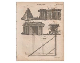 Original print from 1824 edition of Encyclopædia Britannica; Architecture - Free US Shipping