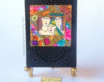 ACEO - art card original, Three Times A Lady, original collage,  microbead collage, black background with rainbow colors rainbow colors