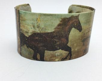 Horse Bracelet Decoupage Cuff Bracelet Horse Cuff