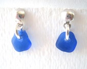 Rare Cobalt Blue Single Drop Stud Earrings on Sterling Silver