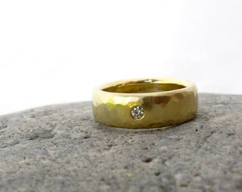 Unisex wide gold band, men's wedding ring, women's wedding ring, gypsy set diamond and 18kt yellow gold ring