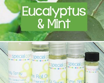 Eucalyptus Mint Perfume, Perfume Spray, Body Spray, Perfume Roll On, Perfume Sample, Dry Oil Spray, Bath Oil, You Choose the Product