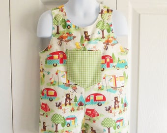 Boys Jon Jon Romper Shortalls Longalls in YOUR CHOICE of whimsical fabrics - 0 months to 4T