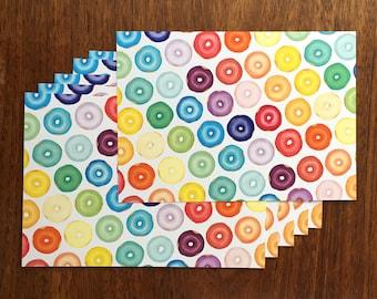 Rainbow Donut Postcard - Six (6) Postcard for Donut Lovers