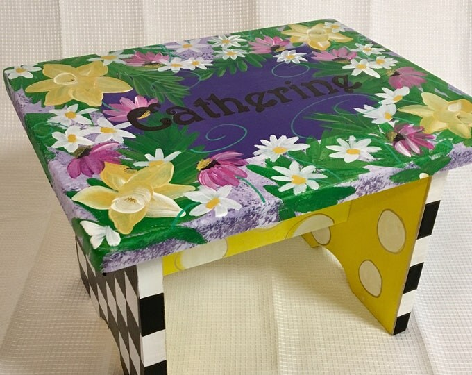 Whimsical Painted Step stool, Personalized Step Stool Custom Childs Stool Chair