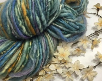 Thick and Thin Handspun Wool yarn-Multi colored pot dyed yarn-Hand dyed yarn-yarn for knitting and weaving-Single ply yarn-Partially felted
