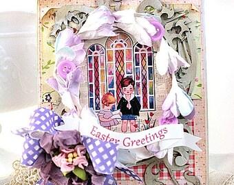 shabby easter card-CHILDREN on EASTER MORNING at church-easter greetings