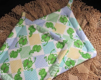 Pair  Potholders with Frogs  on the   Fabric, 2 Cotton Pot Holders / Trivets