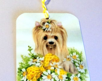 2 Gift Tags,  Adorable Yorkie in a bed of flowers, green white yellow,  Hang Tags, Party Favor Tags