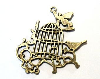 Antique Bronze Bird and Cage on Branch Vines Pendant,  Birdcage Focal, Jewelry Supplies, Findings